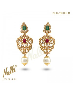 UNCUT DIAMOND EARRINGS WITH EMERALD & RUBY &PEARL