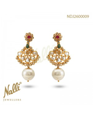 UNCUT DIAMOND EARRINGS WITH RUBY EMERALD & PEARL