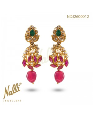 UNCUT EMERALD & RUBY DIAMOND EARRINGS