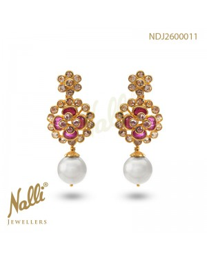 UNCUT DIAMOND EARRING WITH RUBY & PEARL