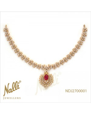 DIAMOND TRADITIONAL NECKLACE WITH RUBY