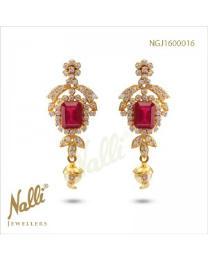 ZIRCON FANCY EARRINGS WITH RUBY AND PEAL HANGING