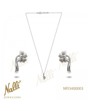 PLATINUM PENDENT CHAIN AND EARRING